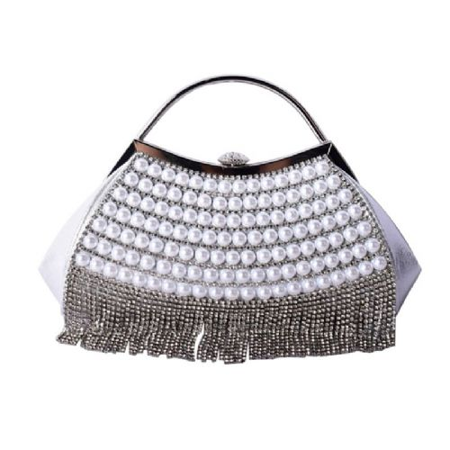 silver Great Gatsby vintage evening bag with pearls